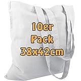 Cottonbagjoe Baumwolltasche Jutebeutel unbedruckt mit Zwei Langen Henkeln 38x42cm (Weiß, 10 Stück)