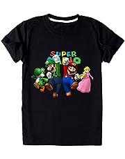 EA-SDN Super Mario T-shirt voor kinderen, zomer, casual, korte mouwen, katoen, ademend, 3D cartoons, jongens, 110-160 cm, 3-14 jaar