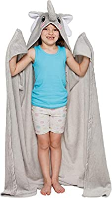 Silver Lilly Dinosaur Wearable Hooded Blanket - Soft Fleece Animal Wrap Around Dress-Up Costume Throw Blanket Cloak for Kids