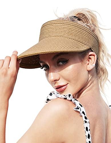 Sombreros de Playa Mujer Viseras de Sombrero de Paja Plegables enrollables de ala Ancha...