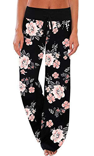 AMiERY Women's Floral Lounge Pants Palazzo Comfy Yoga Pants Jogger Sweat Pants Women Wide Leg Pajama Pants Black Size XX-Large