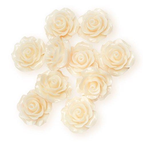 Club Vert Résine Rose Fleur, Ivoire, 20 mm, Lot de 6