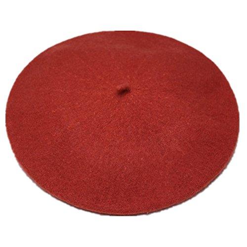 JOYHY JOYHY Damen Solide Klassisch Französisch Stil Baskenmütze Mütze Hut Dunkel Rot