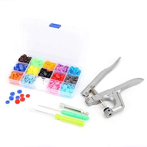 Botones de presión de plástico sin costuras cierres a presión con kit de instalación, práctico botón colorido para niños de 360 piezas, cierre de presión de resina para coser