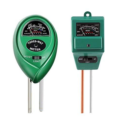 Nuoyi 2 Boden-pH-Meter, 3-in-1-Bodenfeuchte- / Licht- / pH-Tester Gartengeräte-Kits für die Pflanzenpflege, ideal für Garten, Rasen, Bauernhof, Innen- und Außenbereich (grün)