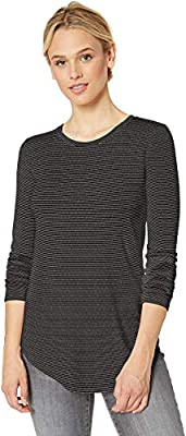 Amazon Brand - Daily Ritual Women's Supersoft Terry Long-Sleeve Shirt With Shirttail Hem, Black,Large