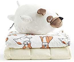 YnM Kids Weighted Blanket — Sensory Minky Material with Premium Glass Beads (Dog Set, 40''x50'' 7lbs), Suit for One Person(~60lb) Use on Twin Bed