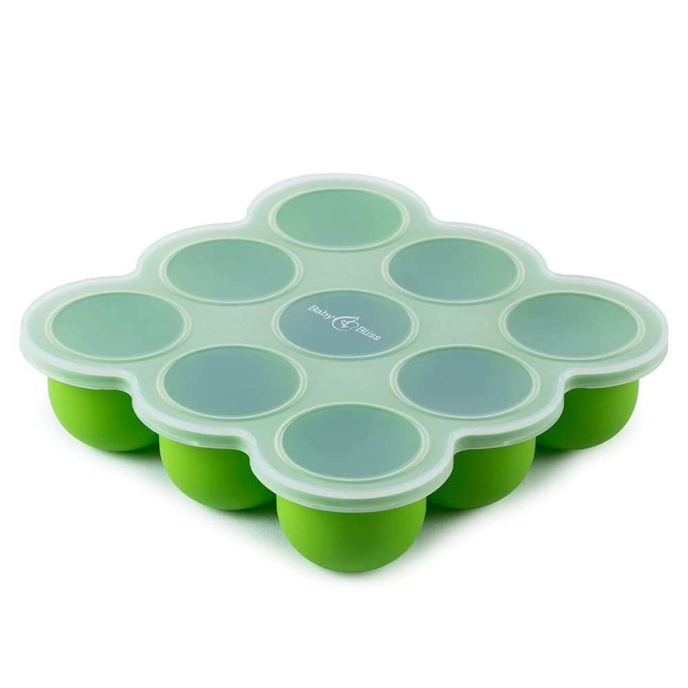 BabyBliss Silicone Baby Food Storage Container and Freezer Tray - Clip-On Silicone Lid - 9 Cups x 2.5 Oz - Easy Out Portions (Green)
