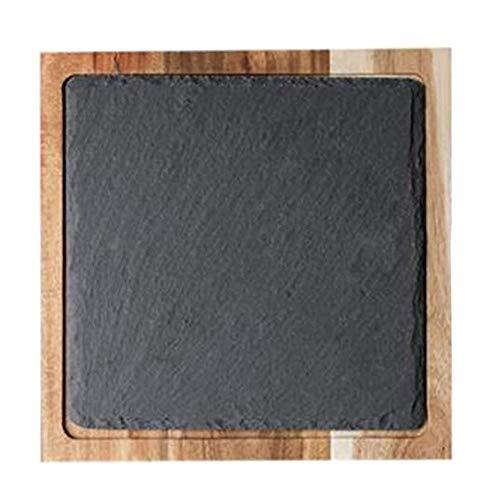 SODIAL Bandeja de Madera de Aperitivo de Madera Maciza Plato de Pan de Pizarra Negra Placa de Madera de Mareo Comida Japonesa Al Estilo Occidental, Cuadrada