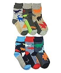3. Jefferies Socks Boys Dinosaur Pattern Crew Socks (6 Pairs)