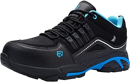 Zapatos de Seguridad Hombre,S3 Zapatillas de Seguridad Antideslizantes con Punta de Acero Antipinchazos Calzados de Trabajo 44,Negro Azul