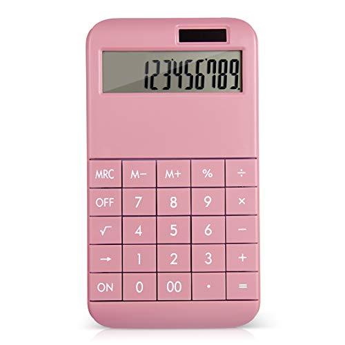 EooCoo Calcolatrice da Tavolo, Standard Calcolatrice con display LCD grande a 12 cifre, Alimentato da Batteria/Solare - Rosa