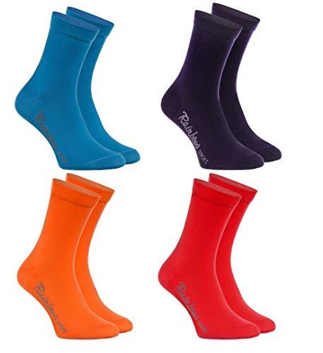Rainbow Socks - Jungen & Mädchen Bunt Socken Baumwolle - 4 Paar Multipack - Jeans Violett Orange Rot - Größen 30-35