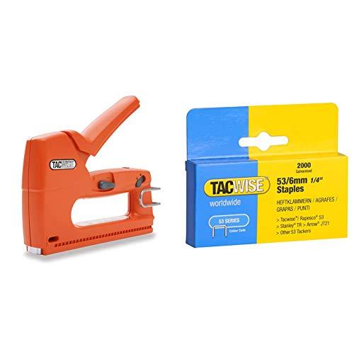 Tacwise Z3-140L Grapadora / clavadora manual ligera para grapas de 140, 6/14mm y clavos 180, 150mm + Grapas Caja de 2000 grapas galvanizadas 53/6mm