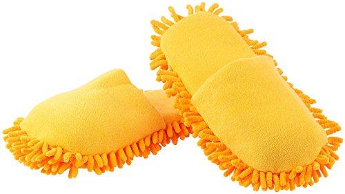 infactory Putzhausschuhe: Putz-Hausschuhe mit reinigender Mikrofaser-Sohle, Gr. 44-46 (Puschen zum Putzen)