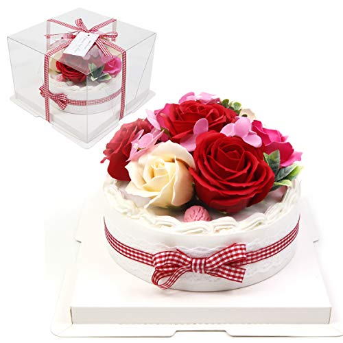 [Alice flower] ソープフラワー ケーキ 誕生日 プレゼント ギフト 人気 豪華 ボックス ケース付き 薔薇 バラ 造花 スイーツ シャボンフラワー お祝い 母の日 クイーンレッド