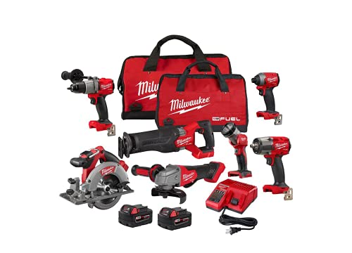 Milwaukee M18 FUEL 18-Volt Lithium-Ion Brushless Cordless Combo Kit with Two 5.0 Ah Batteries, 1 Charger, 2 Tool Bags (7-Tool)