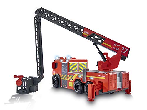 Dickie Toys 203714011 Feuerwehrauto mit Drehleiter, Rosenbauer Feuerwehr, Mercedes Benz Kabine, Licht & Sound, inkl. Batterien, ausziehbare Leiter, Freilauf, rot, für Kinder ab 3 Jahren