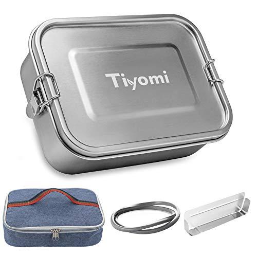 Bento Box, Tiyomi Fiambrera de 1400 ml Contenedor de Alimentos de Acero Inoxidable, Lunchbox Con tabique móvil y dos juntas de estanqueidad,con bolsa de almuerzo