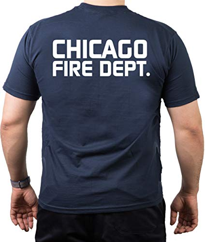 Feuer1 T-shirt Navy, Chicago Fire Dept, Chicago Fire Dept, inscription avec dos imprimé 3XL bleu marine