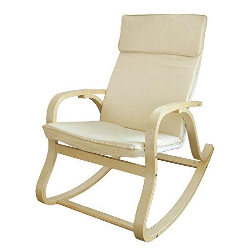 SoBuy FST15-W Schaukelstuhl Schwingstuhl Relaxstuhl Relaxsessel Birkenholz beige Belastbarkeit 120kg