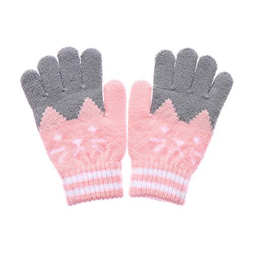YUKNICO 1 Paar 4-10Y Kinderhandschuhe Winter Warme Dicke Strickhandschuhe Kinder Mädchen Jungen Magische Handschuhe Nette Handschuhe