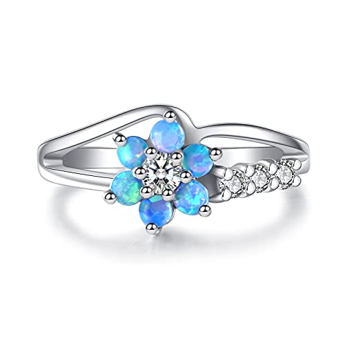 Exquisite Round Cut White Created Opal Stone Flower Created-Opal Rings Women Jewelry Birthday Proposal Gift Bridal Engagement Party Band Rings Size 6-10