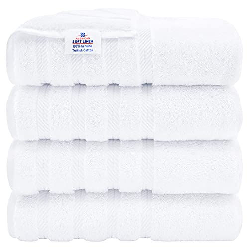 American Soft Linen Luxury Hotel & Spa Quality, Turkish Cotton, 27x54 Inches 4-Piece Bath Towel Set for Maximum Softness & Absorbency, Dry Quickly - Bright White