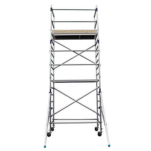 Alumexx Rolsteiger AS-2 - Rol - Steiger - Aluminium - Steiger - Werk - Steiger - Voor De Geavanceerde Thuisklusser Of Zzp'er - Klasse 3 - 6.3 m Werkhoogte - Betaalbaar - Lichtgewicht - Hoogwaardig Aluminium