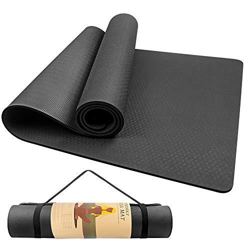 Gymnastikmatte 183 x 61x 0.6cm, Swonuk Yogamatte aus TPE Rutschfest Übungsmatte Sportmatte mit Tasche für Pilates, Fitness, Frauen und Männer, (Black)
