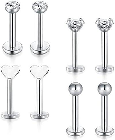 TonyJameJPStore 8Pcs Crystal Labret Piercing Set 16G Heart Tragus Piercing Earring Lot Conch Piercing Set Lip Labret Stud Pack Lobe Earring Bulk - Style-2
