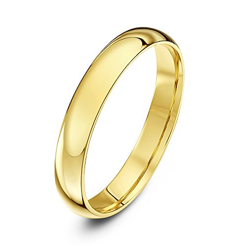 Theia Unisex Heavy Court Shape Polished 9 ct Yellow Gold 3 mm Wedding Ring - Size P