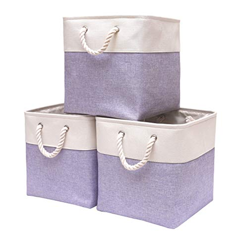 DECOMOMO Foldable Storage Bin | Collapsible Sturdy Cationic Fabric Storage Basket Cube W/Handles for Organizing Shelf Nursery Home Closet (Purple & White, Cube - 13 x 13 x 13-3 Pack)