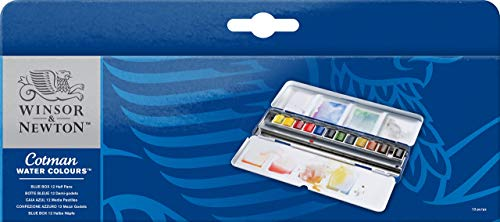 Windsor & Newton cot Man Watercolor Half Pan Set 12 Color Blue Box Set (Japan Import)