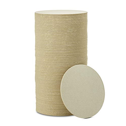 """MT Products 4"""" Blank Off-White Heavyweight Cardboard Round Coasters for Your Beverages 2 MM Thickness (100 Pieces)"""