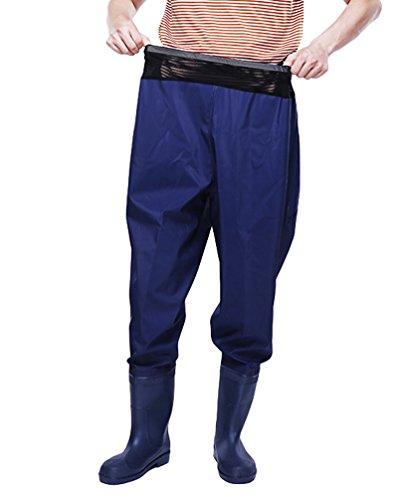 Xinwcang Herren Damen Anglerhose mit Stiefeln Regenhose Overtrousers Unisex Athmungsaktive Wasserdicht Regenarbeitshose Blau 38