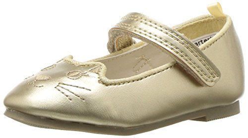 carter's Girls' Caryn Kitten Ballet Flat, Gold, 6 M US Toddler