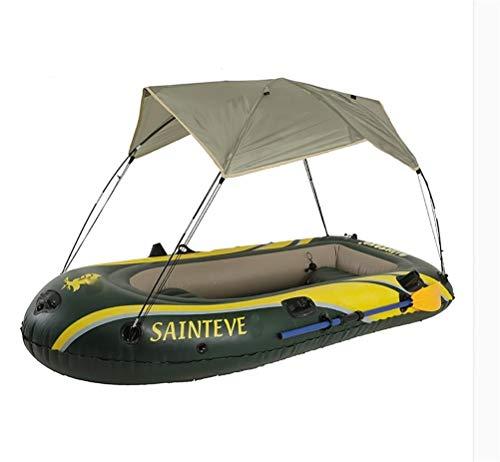 GUOE-YKGM Kayak Aufblasbares 3-Personen-Ausflugskajak-Set Mit Sonnenschirm, 2 Rudern Und Leistungsstarker Luftpumpe - Angler Und Freizeitsportler Sitzen Auf Der Leichten Fischerboot-Inselreise