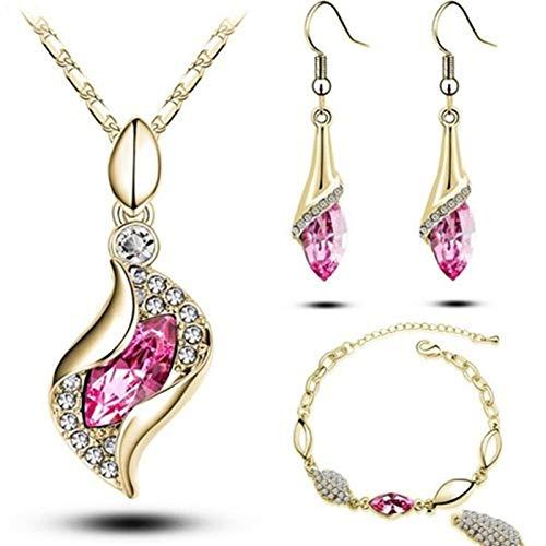 Conjuntos de joyas para mujeres Accesorios Boda Bridal Colgante Collar de cristal Pendientes Conjunto de anillos (Metal color : H7807)