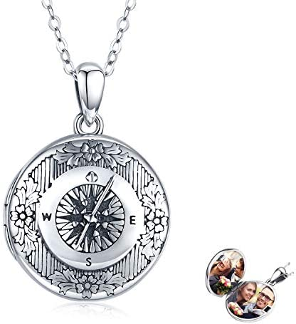TRISHULA Compass Locket Necklace Heart Locket That Holds Pictures Elephant Pendant Vintage R product image