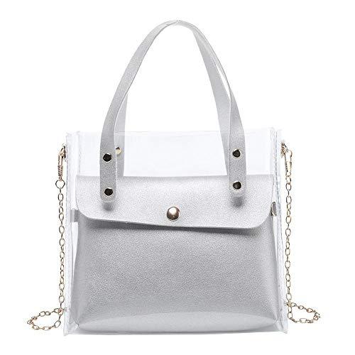 2pcs / Set Bolsos De Hombro De Color Sólido Claro Bolsos Cruzados De Embrague Para Mujer 1 X Bolso De Hombro Gris