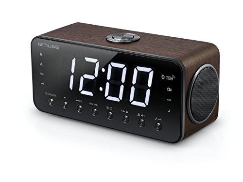 Muse digitale stereo wekker met groot LED-display (4,6 cm), dimbaar (FM, MW, Bluetooth, NFC, USB, AUX, zendergeheugen, dual alarm), houtkleuren walnoot