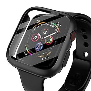 NIMASO ケース Apple Watch Series 6 / SE / Series 5 / Series4 対応 40mm 用 PC素材 強化ガラス 保護カバー アップルウォッチケース(ブラック)