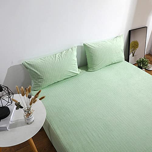 CYYyang Protector de Colchón | Capa Superior de algodón Transpirable Sábana de Cama Impermeable de algodón Rayas-Verde Claro_48x74cm