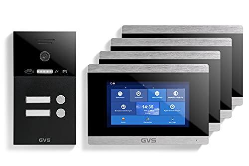 GVS Videoportero IP IP65 con RFID, monitor de 4 x 7 pulgadas, aplicación, cámara HD de 150°, apertura de puertas, memoria de 32 GB, interruptor PoE, juego de 2 casas, AVS4232A