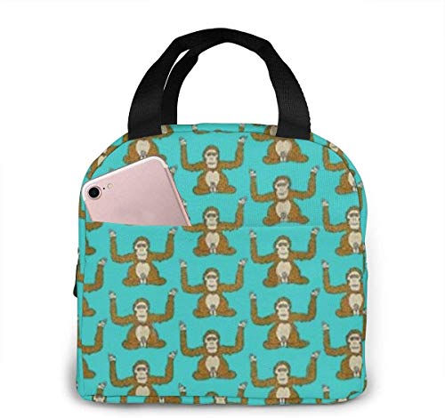 Bolsa de almuerzo reutilizable Fiambrera aislada Tela de lona con papel de aluminio, Bolso de mano con dibujo de orangután Fordable