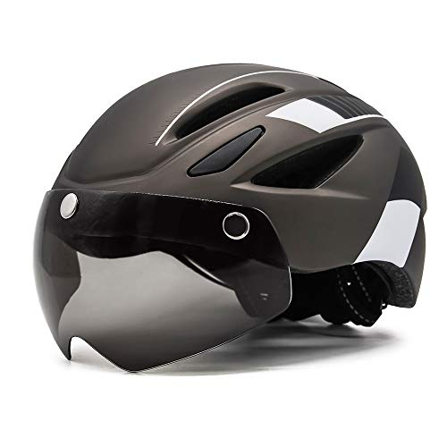 EASTINEAR Adults Bike Helmet Magnetic Goggle Cycling Helmet with USB Rechargeable Taillight for Men Women Mountain amp Road Bicycle Helmet Sunglasses Shield Size M/L Ti White