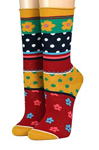 CRÖNERT Socken Longsocks mit Rollrand Design Pippilotta 18703 (39/42, gelb 1360)