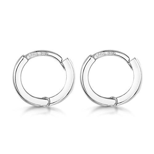 Amberta Fine 925 Sterling Silver Pair of Round Hinged Hoops - Sleeper Earrings Diameter 10 20 45 65 mm (10mm)