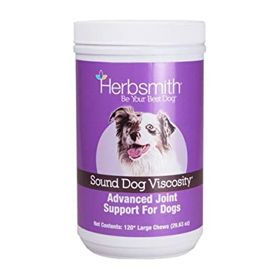 Herbsmith Sound Dog Viscosity – Advanced Joint Support for Dogs – Veterinarian Recommended Glucosamine for Dogs, Hyaluronic Acid, Chondroitin, MSM – Natural Arthritis Pain Relief – 120ct Large Chews